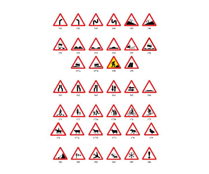 bdce32f007c Hoiatusmärgid – teetööd, ohtlik kurv, ebatasane tee jm